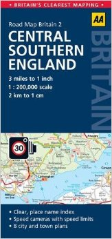 Central Southern England Road and Tourist Map.