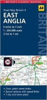 East Anglia Road and Tourist Map.