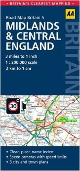 Midlands & Central England Road and Tourist Map.