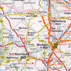 Germany, North, Road and Shaded Relief Tourist Map.