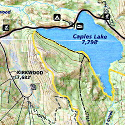 Lake Tahoe, Road and Recreation Map, California and Nevada, America.