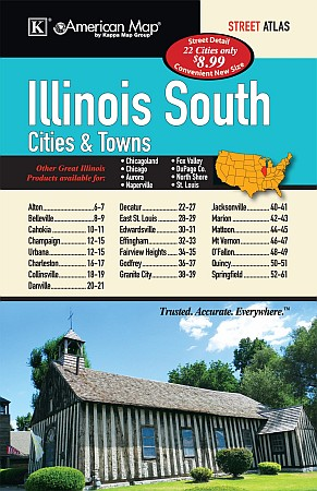 Illinois South Cities & Towns Road Atlas, America.