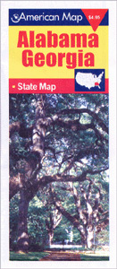 "Alabama and Georgia ""Travel Vision"" Road and Tourist Map, America."