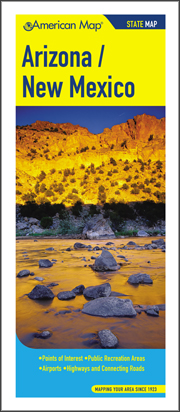 Arizona and New Mexico Road and Tourist Map, America.