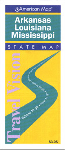 Arkansas, Louisiana and Mississippi, Road and Tourist Map, America.
