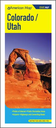 Colorado and Utah Road and Tourist Map, America.