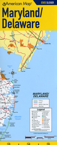"Delaware and Maryland ""State Slicker"" Road and Tourist Map, America."