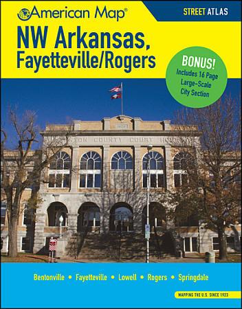 Fayetteville and Rogers Street Atlas, Arkansas, America.