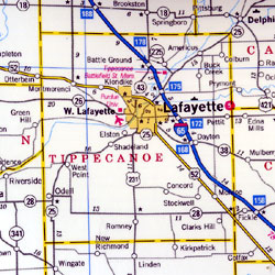 """Indiana """"StateSlicker"""" Road and Tourist Map, America."""