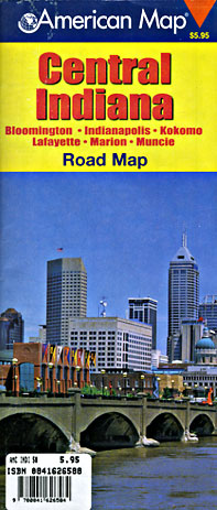 Indiana Central Road and Tourist Map, America.