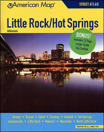 Little Rock and Hot Springs Street Atlas, Arkansas, America.