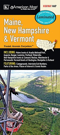 Maine, New Hampshire and Vermont Road and Tourist Map, America. Laminated.