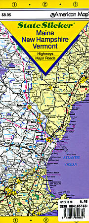 "New Hampshire, Maine and Vermont ""StateSlicker"" Road and Tourist Map, America."
