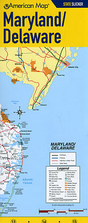 "Maryland and Delaware ""StateSlicker"" Road and Tourist Map, America."