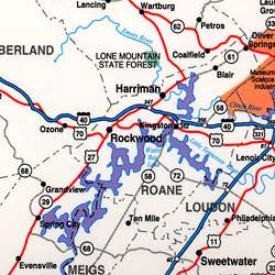 "Tennessee ""StateSlicker"" Tourist Road Map, America."