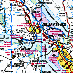 Virginia Road and Tourist Map, America.