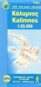 Kalimnos, Road and Tourist Map, Greece.