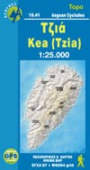 Kea (Tzia), Road and Tourist Map, Greece.