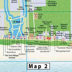 Boracay Island, Tourist Map, Philippines.