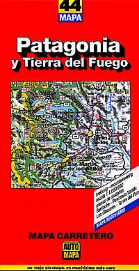 Patagonia and Tierra del Fuego, Road and Shaded Relief Tourist Map, Chile and Argentina.