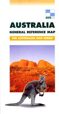 Australia General Reference TOPOGRAPHIC and Shaded Relief Topographic Tourist Map.