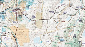 Nevada Road and Recreation Map, America.