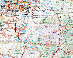 Washington State Road and Recreation Map, America.