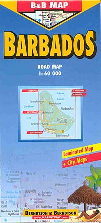 Barbados Road and Tourist Map, West Indies.