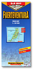 Fuerteventura Island, Road and Shaded Relief Tourist Map, Canary Islands, Spain.