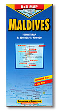 Maldives Road and Tourist Map, Indian Ocean.