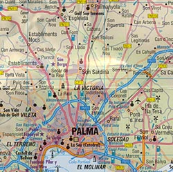 Mallorca (Balearic Islands), Road and Shaded Relief Tourist Map.