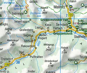 Austria Road and Tourist Map.