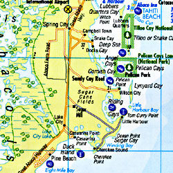 Bahamas Road and Tourist Map.
