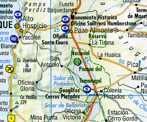 Chile Road and Tourist Map.