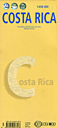 Costa Rica, Road and Tourist Map, Central America.