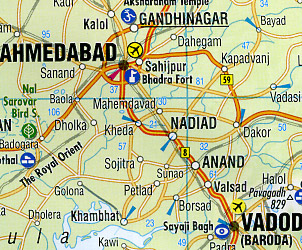 India North Road and Shaded Relief Tourist Map.