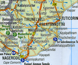 India South Road and Shaded Relief Tourist Map.