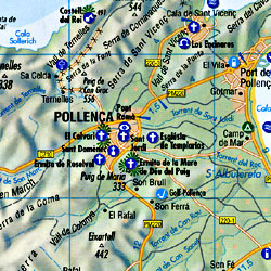 Mallorca Road and Shaded Relief Tourist Map, Balearic Isles, Spain.