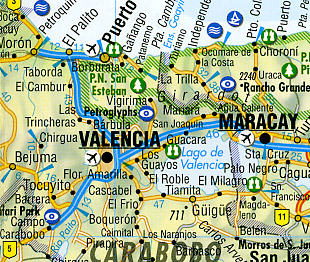 Venezuela Road and Shaded Relief Tourist Map.