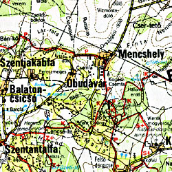 Balaton Road and Shaded Relief Tourist Map, Hungary.
