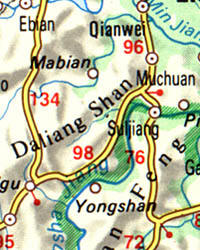 China and MONGOLIA Road and Shaded Relief Tourist Map.