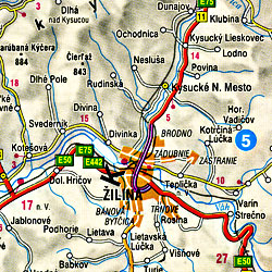 Czech Republic, Road and Shaded Relief Tourist Map.