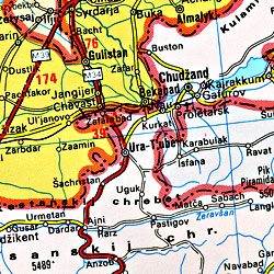 Middle East, Road and Tourist Map.