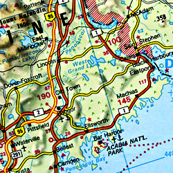 United States Road and Shaded Relief Tourist Map.