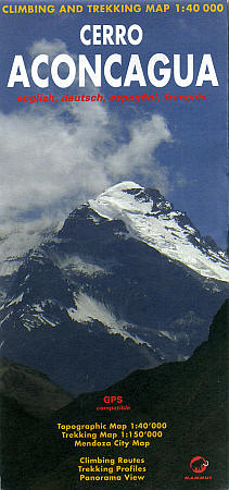 Aconcagua Climbing and Trekking Road Map, Chile.