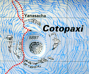 Cotopaxi Climbing and Trekking Map, Ecuador.