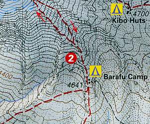 Kilimanjaro Climbing and Trekking Map, Tanzania.