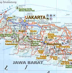 Indonesia Road and Shaded Relief Tourist Road Map.