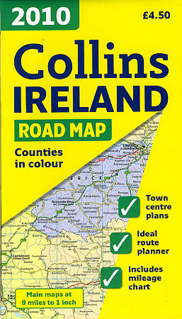 Ireland Visitor's Road and Shaded Relief Tourist Map.