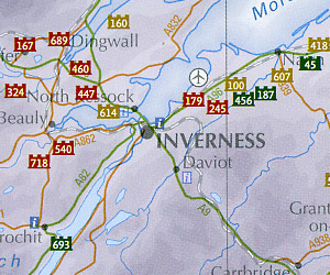 "Scotland ""Castles"" Road and Shaded Relief Map."